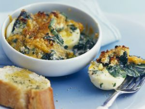 Creamy Spinach, Cheese and Hard Boiled Egg Bake recipe