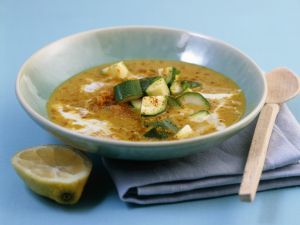 Curried Red Lentil Soup with Zucchini and Coconut Milk recipe