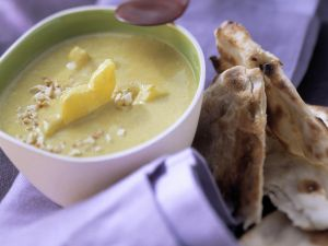 Curried Pineapple and Chicken Soup with Chapatis recipe
