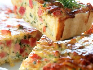 Deep-dish Quiche with Ham and Vegetables recipe