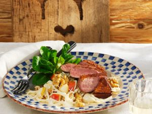 Duck Breast with Celery Salad and Pears recipe