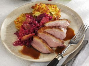 Duck Breast with Potato Pancakes and Red Cabbage recipe