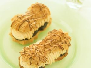 Eclairs with Marzipan Plum Filling recipe