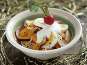 Egg Salad with Carrot, Apple and Radish recipe