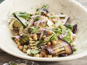 Eggplant Zucchini Salad with Chickpeas recipe