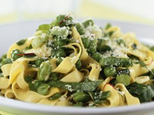 Fettuccine with Peas, Broad Beans and Parmesan recipe