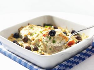 Fish and Spinach Gratin with Olives recipe