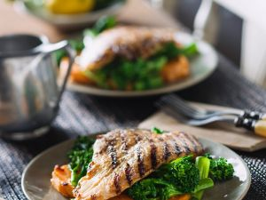 Fish Fillet with Sweet Potatoes and Broccoli recipe