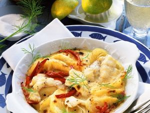 Fish Gratin with Bell Peppers and Apples recipe