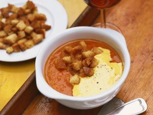 Fish Soup with Rouille and Tomato Croutons recipe