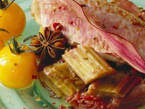 Fish with Tomatoes and Rhubarb-Wine Sauce recipe