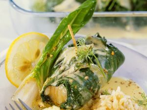 Fish Wrapped in Chard with Wine Sauce recipe