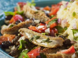 Fried Herring with Mashed Potatoes and Salad recipe