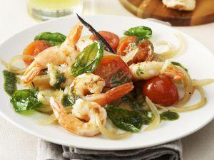 Fried Shrimp with Vanilla and Basil Puree recipe