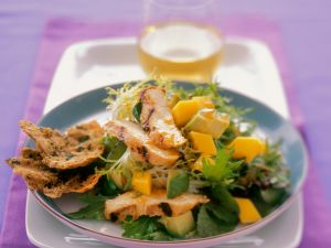 Frisee, Mango and Avocado Salad with Grilled Chicken recipe