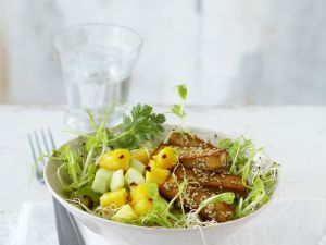 Fruity Cucumber Salad with Sesame Tofu Sticks recipe