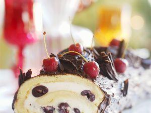 Glazed Jelly Roll Cake with Mascarpone Cherry Cream recipe