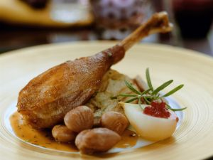 Goose Leg with Chestnuts and Pears recipe