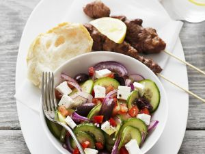 Greek Pork Skewers and Mixed Salad with Feta recipe