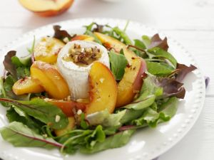 Soft Cheese and Stone Fruit with Leaves recipe