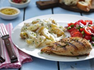 Grilled Chicken Breasts with Potato and Tomato Salads recipe