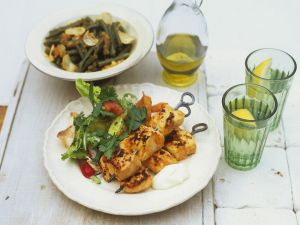 Grilled Chicken Skewers with Salad and Green Beans recipe