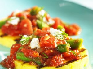 Grilled Cornmeal Patties with Tomato and Bean Sauce and Feta recipe