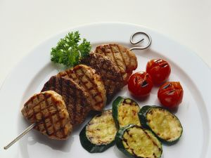 Grilled Meat Skewers with Zucchini and Tomatoes recipe