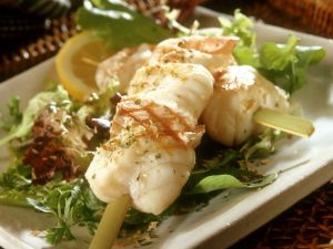 Grilled Monkfish and Prawns Skewers recipe