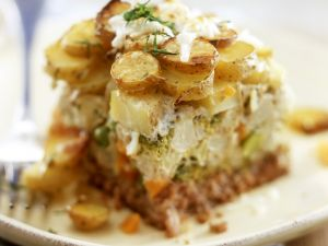 Ground Beef Casserole with Potatoes, Broccoli and Cauliflower recipe