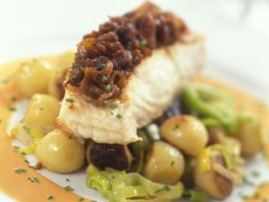 Halibut Fillet with Red Wine Shallot, Lobster and Vegetables recipe