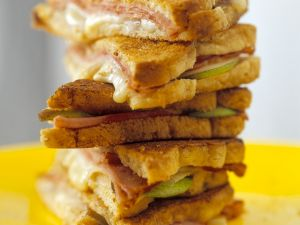Ham and Cheese Toasted Sandwich with Apple Slices recipe