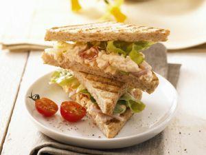 Ham and Egg Salad Toasted Sandwich recipe