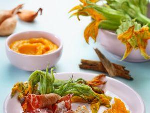 Ham Prawns with Pumpkin Sauce and Crispy Pumpkin Flowers recipe