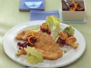 Hazelnut Breaded Turkey Cutlets with Salad and Mushrooms recipe