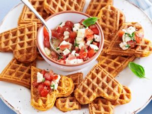 Heart Waffles with Tomato Salad recipe