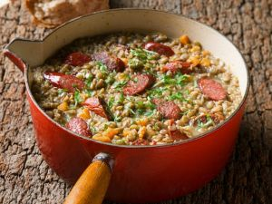 Country-style Lentil and Sausage Stew recipe