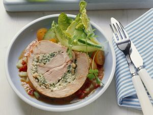Herb-Stuffed Turkey Roll with Vegetable Sauce recipe