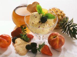 Ice Cream with Rum Fruit and Fresh Fruit recipe