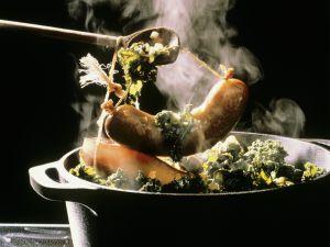 Kale with Pancetta and Smoked Sausage recipe
