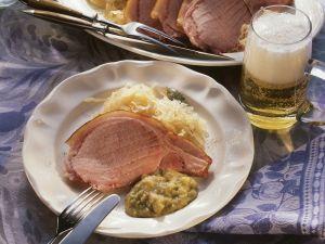 Kassler Ribs with Pea Puree and Sauerkraut recipe