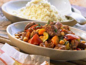 Lamb, Chickpea and Saffron Ragout with Couscous recipe