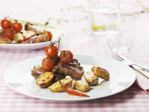Lamb Chops with Potatoes and Cherry Tomatoes recipe