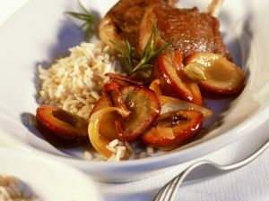 Lamb Chops with Spiced Plums and Rice recipe