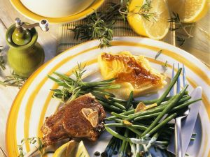 Lamb Chops with Sweet Potato Gratin and Green Beans recipe