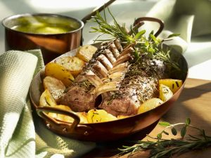 Lamb Ribs, Herb Butter and Rosemary Potatoes recipe