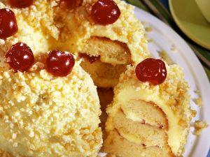 Layered Vanilla Cake with Toasted Almonds recipe