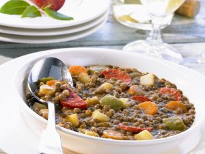 Lentil and Vegetable Stew with Spicy Chorizo recipe
