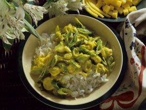 Mango and Leek Curry with Rice recipe