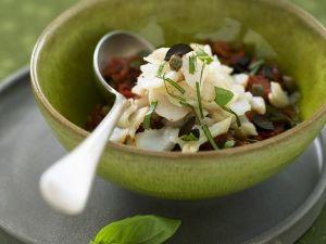 Marinated Cod with Mediterranean Vegetables recipe
